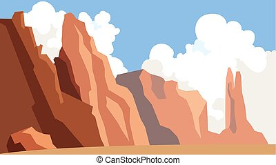 青い山地, 屋外, cliff., 空, scene., 風景