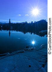 青い山地, 湖の反射