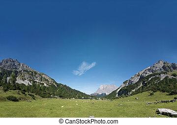 青い山地, 牧草地, チロル, パノラマ, 空, 緑