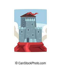 青い山地, 雲, 中世, 平ら, タワー, flag., 上, 空, バックグラウンド。, ベクトル, 要塞, 防御, 大きい, 白, なびくこと, 城, 赤