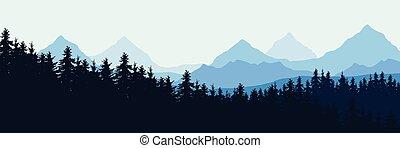 青い山地, widescreen, 空, イラスト, 現実的, 森林, ベクトル, 下に, 風景