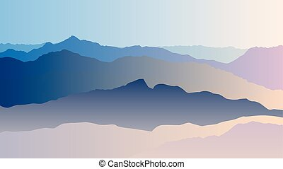 青い山, シルエット, ベクトル, 風景