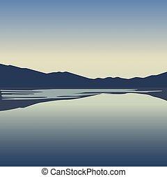 青い山, ベクトル, 湖, 風景