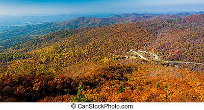 青い山, 峰, 秋, メアリーの, 岩, 光景
