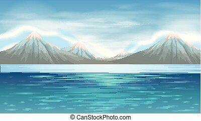 青い山, 現場, 背景, 湖