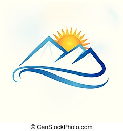 青い山, 風景, ロゴ