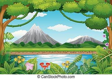 青い山, 風景, 湖, 背景