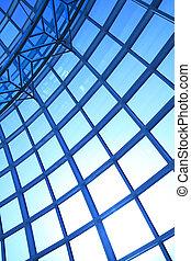 青い建物, オフィス, 壁, 現代, ガラス