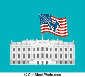 青い建物, 合併した, donkey., 政府, 勝利, house., 民主党員, 選挙, 州, 愛国心が強い, america., 政治的である, 大邸宅, 旗, 白, 大統領である, usa.