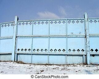 青い建物, 空, 壁, コンクリート, 保護される, ブロック