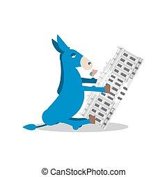 青い建物, donkey., 政府, 勝利, house., 民主党員, 選挙, 旗, 政治的である, 白, アメリカ, 大統領である, usa.