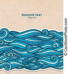 青い影, ベクトル, パターン, 効果, ボリューム, 背景, ペーパー, 波, ボール紙, 透明