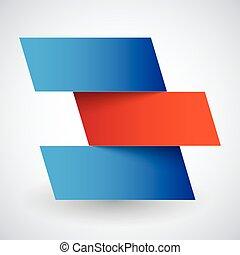 青い影, ペーパー, 長方形, 背景, infographics, 旗, 白い赤