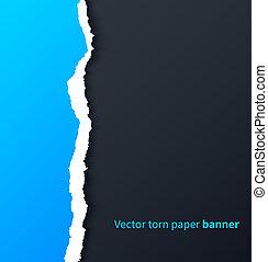 青い影, 引き裂かれた, 低下, 暗い, ペーパー, 背景