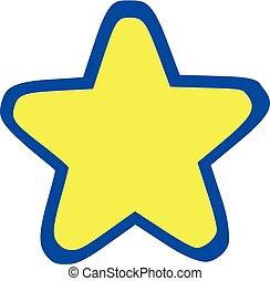 青い星, アウトライン, 黄色, ラウンド