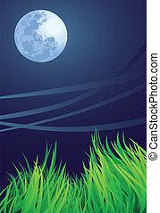 青い月, 夜
