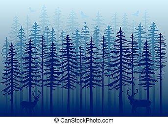 青い森林, ベクトル, 冬