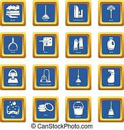青い正方形, アイコン, ベクトル, セット, 清掃, 道具