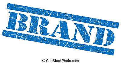 青い正方形, グランジ, 切手, ブランド, 隔離された, textured, 白