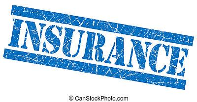 青い正方形, グランジ, 切手, 隔離された, textured, 白, 保険