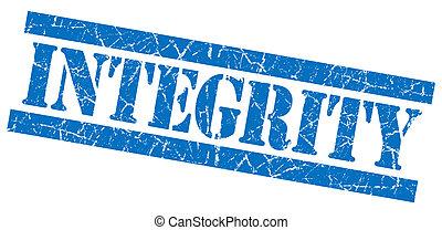 青い正方形, グランジ, 切手, 隔離された, textured, 白, 完全性