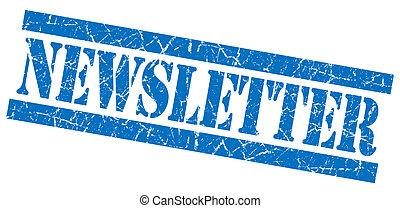 青い正方形, グランジ, 切手, 隔離された, textured, 白, newsletter