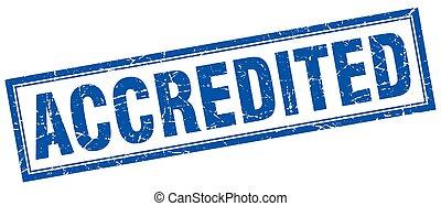 青い正方形, グランジ, 切手, accredited, 白