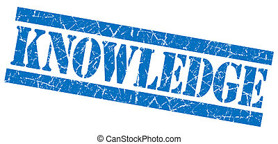 青い正方形, グランジ, 知識, 切手, 隔離された, textured, 白