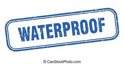 青い正方形, グランジ, stamp., 防水, 印