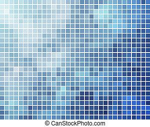 青い正方形, バックグラウンド。, ベクトル, シアン, モザイク