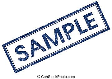 青い正方形, 切手, 隔離された, サンプル, 背景, grungy, 白