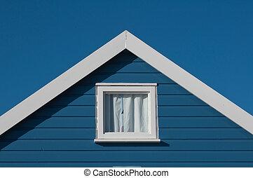 青い正方形, 屋根, 小屋, 窓, 浜