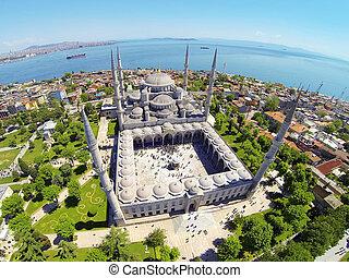 青い正方形, 端, turkey., 呼ばれる, モスク, ramadan, 速い, sultanahmet, 壊される, iftar., 祈とう, イスタンブール, 日, 食事
