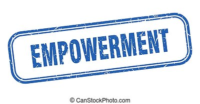 青い正方形, empowerment, グランジ, stamp., 印