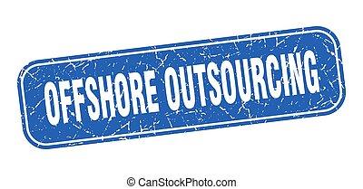 青い正方形, grungy, 印, 沖合いに, outsourcing, stamp.
