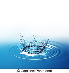 青い水, 大急ぎの色, 低下, 暗い, はね返し, の上