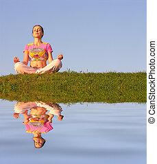 青い水, 女の子, 空, 瞑想