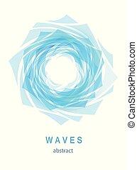 青い水, 抽象的, 背景, 波