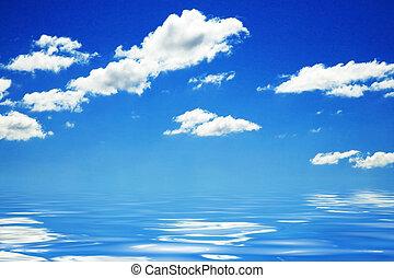 青い水, 空, 背景