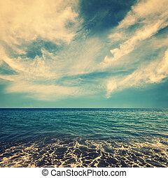青い水, 美しい, 雲, 海