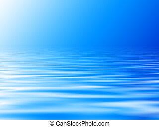 青い水, 背景, 地平線