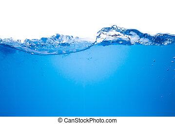 青い水, 背景, 波