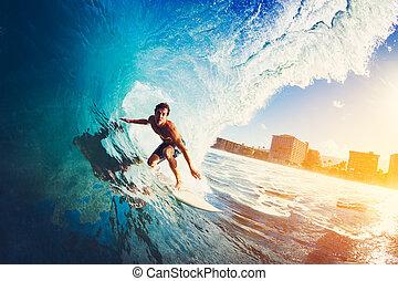 青い海洋, サーファー, 波