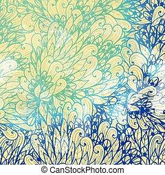 青い渦巻, 勾配, 葉, 手, デザイン, 招待, 花, 引かれる, カード