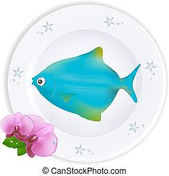 青い版, fish