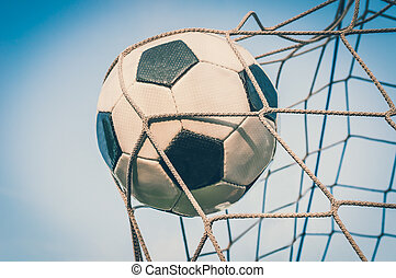 青い球, ゴール, 空, 背景, 網, サッカー