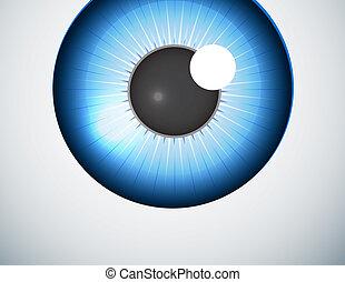 青い球, 目, 背景