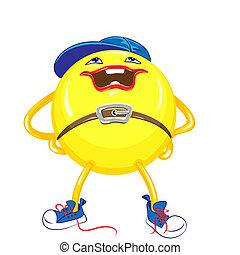 青い球, 立つ, ヒップ, 帽子, 隔離された, 黄色, スニーカー, 背景, 手, 微笑, 白, 離れて 足