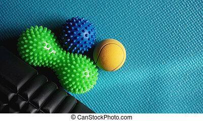 青い球, 自己, myofascial, マッサージ, reflexology, ローラー, リリース, マッサージ