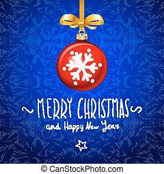 青い球, 雪が多い, 背景, クリスマス, 赤